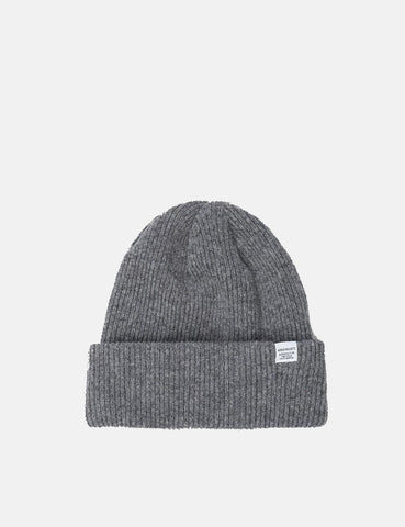 Norse Projects Norse Beanie Hat - Light Grey Melange