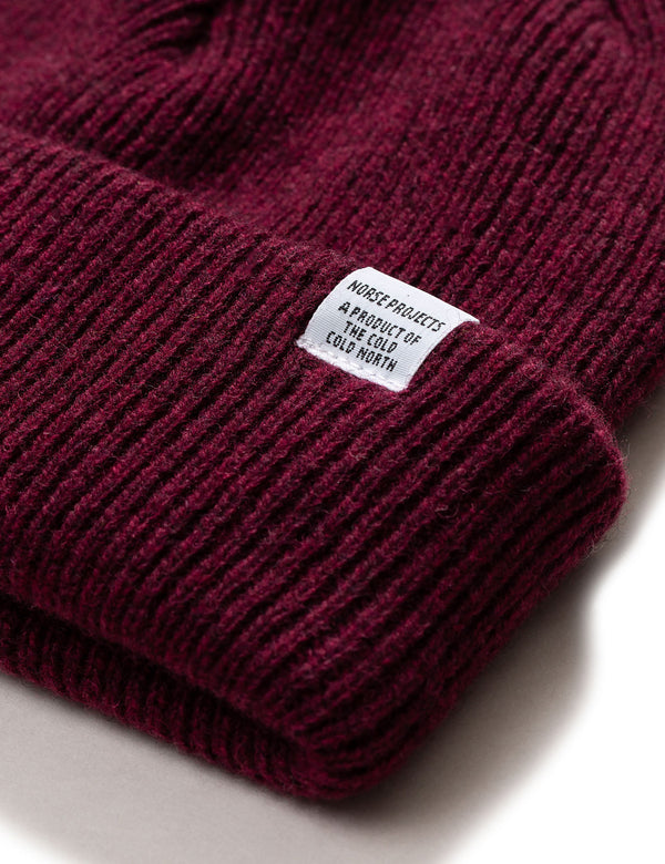 Norse Projects Beanie Hat Brushed (Wool) - Mulberry Burgundy