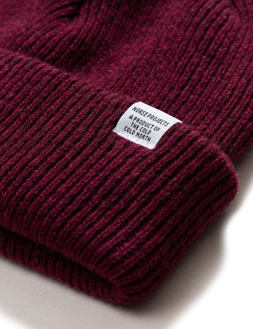 Norse Projects 'Norse' Beanie Hat Brushed (Lambswool) - Mulberry Burgundy
