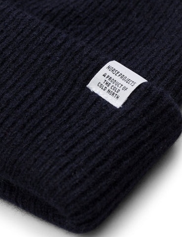 Norse Projects 'Norse' Beanie Hat Brushed (Lambswool) - Dark Navy Blue