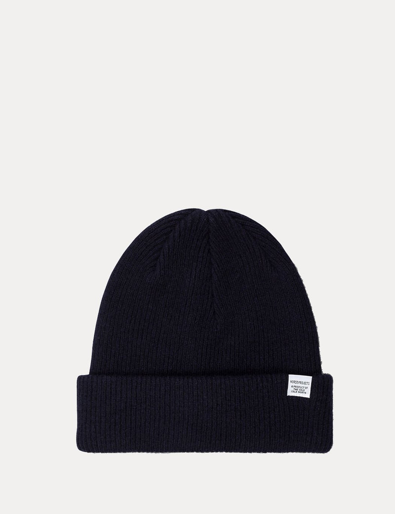 Norse Projects Beanie Hat Brushed (Wool) - Dark Navy Blue