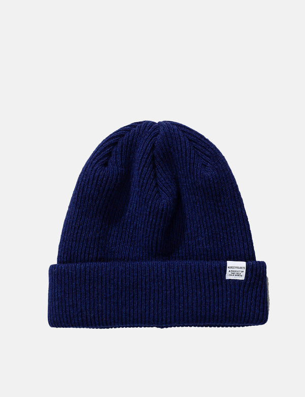 Norse Projects Beanie Hat Brushed (Wool) - Twilight Blue