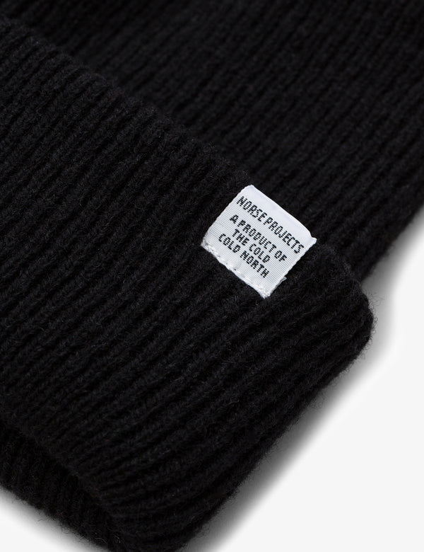 Norse Projects Beanie Hat Brushed (Wool) - Black
