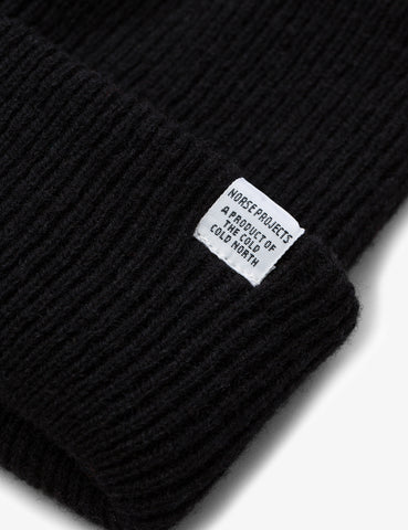 Norse Projects 'Norse' Beanie Hat Brushed (Lambswool) - Black