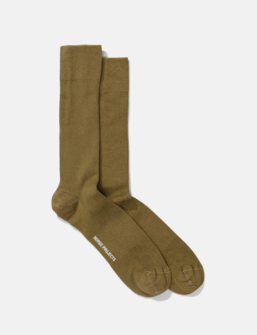 Norse Projects Bjarki Mercerized Rib Socks - Brass