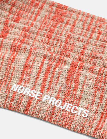 Norse Projects Bjarki Mercerized Twist Socks - Coral Red