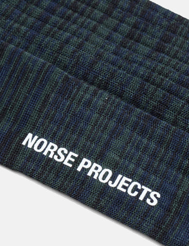 Norse Projects Bjarki Mercerized Twist Socks - Dark Navy