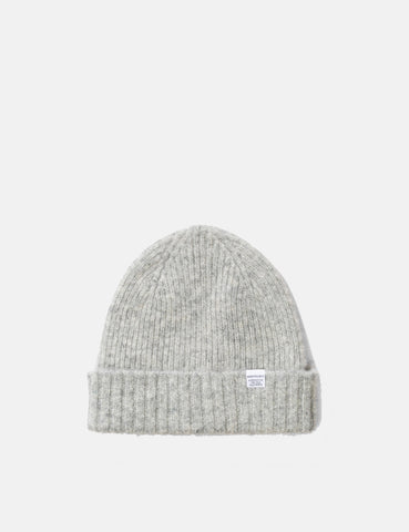 Norse Projects Brushed Lambswool Beanie Hat - Glacier Grey