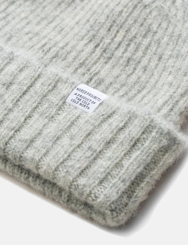 Norse Projects Rib Beanie Hat Brushed (Lambswool) - Glacier Grey