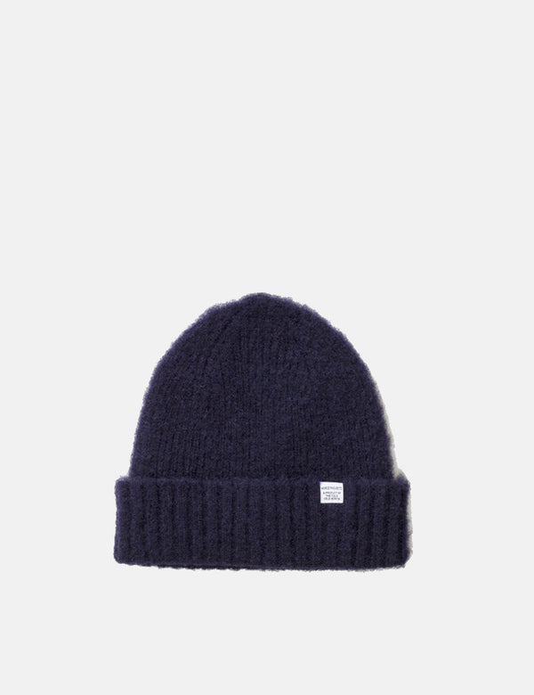 Norse Projects Rib Beanie Hat Brushed (Wool) - Dark Navy Blue