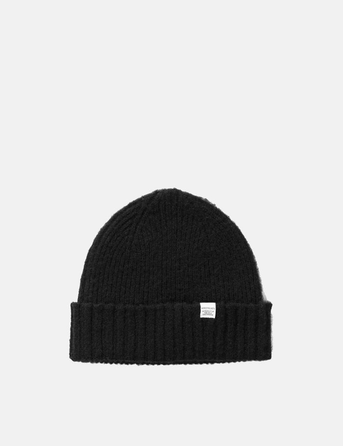 Norse Projects Rib Beanie Hat Brushed Lambswool - Black | URBAN EXCESS