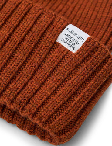 Norse Projects Chunky Rib Beanie Hat (Lambswool) - Oxide Orange