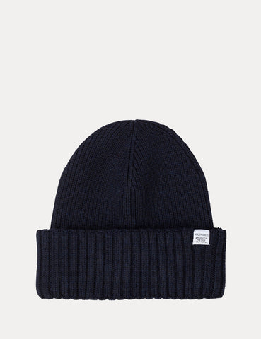 Norse Projects Chunky Rib Beanie Hat - Dark Navy Blue