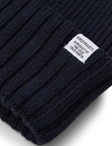f11f40a0a9f ... Norse Projects Chunky Rib Beanie Hat - Dark Navy Blue