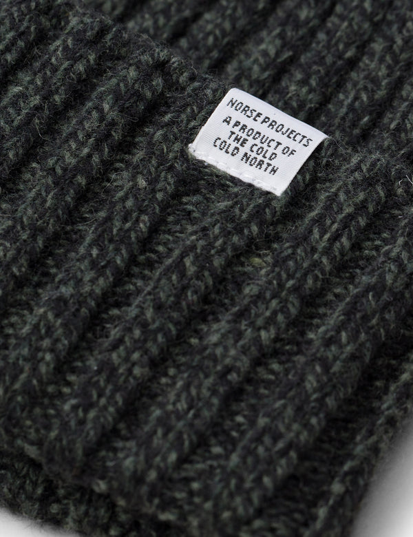 Norse Projects Wide Rib Beanie Hat (Wool) - Spinnaker Green