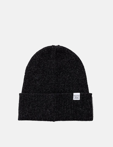 Norse Projects Twist Beanie Hat (Lambswool) - Charcoal Melange