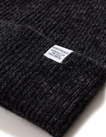 Norse Projects Twist Beanie Hat (Wool) - Charcoal Melange