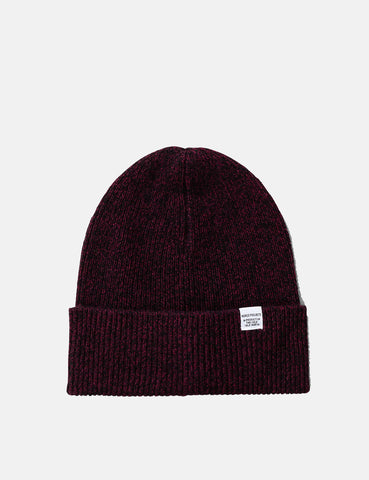 Norse Projects Twist Beanie Hat (Wool) - Mulberry Red Melange