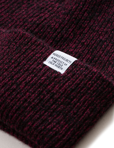 Norse Projects Twist Beanie Hat (Lambswool) - Mulberry Red Melange
