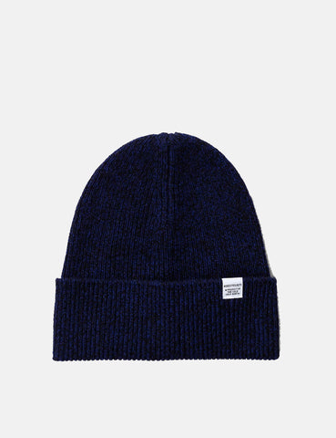 Norse Projects Twist Beanie Hat (Lambswool) - Dark Navy Blue Melange