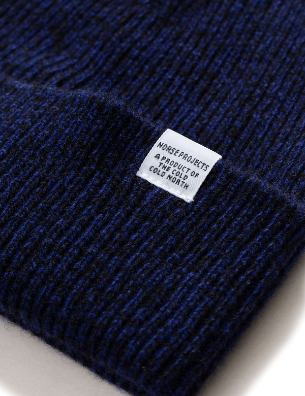 Norse Projects Twist Beanie Hat (Wool) - Dark Navy Blue Melange