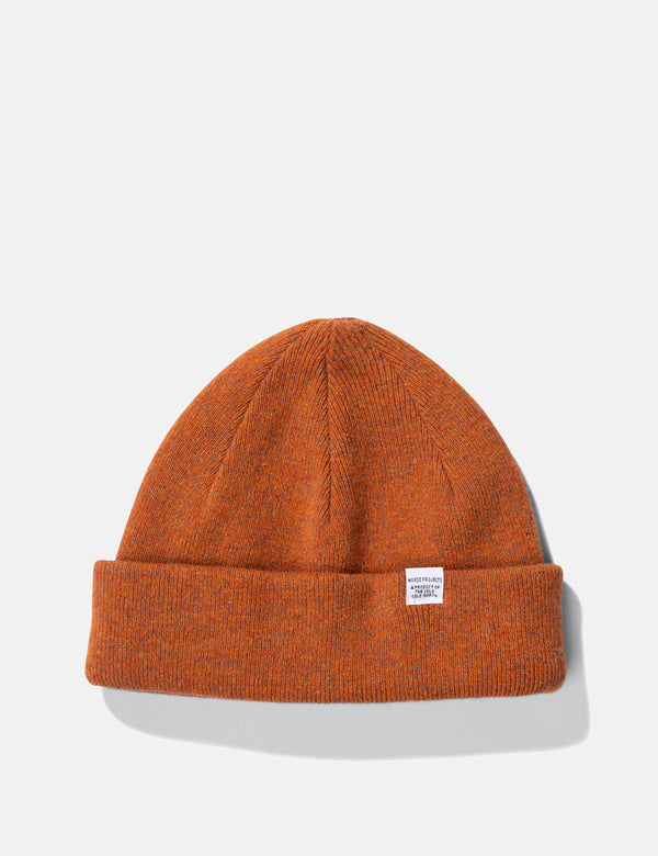 Norse Projects Light Wool Beanie Hat - Cadmium Orange