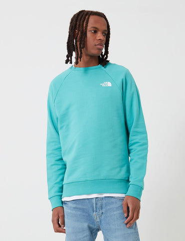 North Face Raglan Redbox Crew Neck Sweatshirt - Lagoon Blue