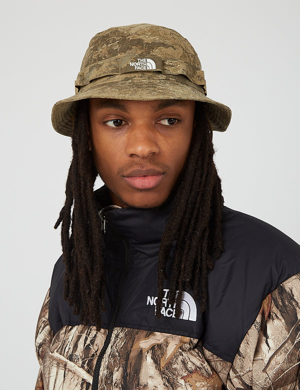 North Face Class V Brimmer Hat (Wash Print) - Military Olive/Cloud Camo