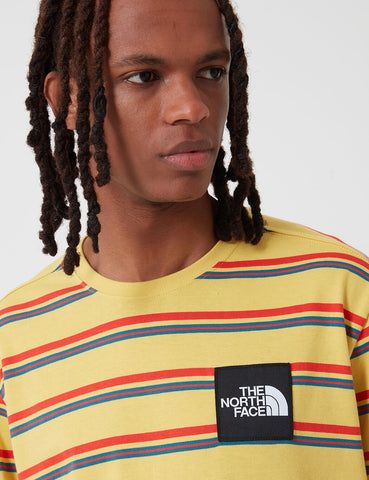 North Face Boruda Long Sleeve T Shirt (Stripe) - Bamboo Yellow