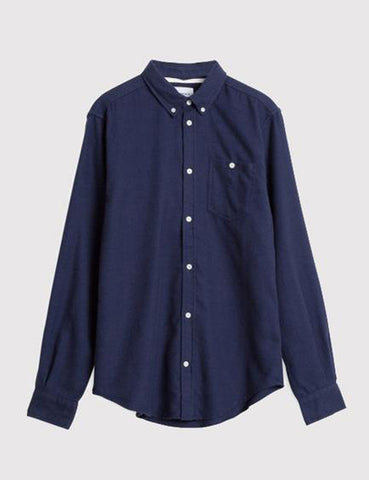 Norse Projects Osvald Brushed Flannel Shirt - Navy