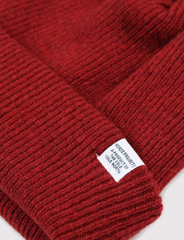 Norse Projects Norse Beanie Hat - Red Clay