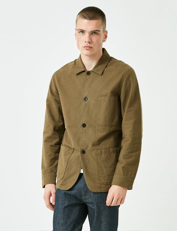 Portuguese Flannel Pinheiro Jacket (Brushed Flannel) - Olive Green