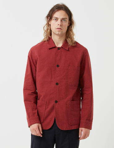 Portuguese Flannel Pinheiro Jacket (Brushed Flannel) - Bordeaux Red