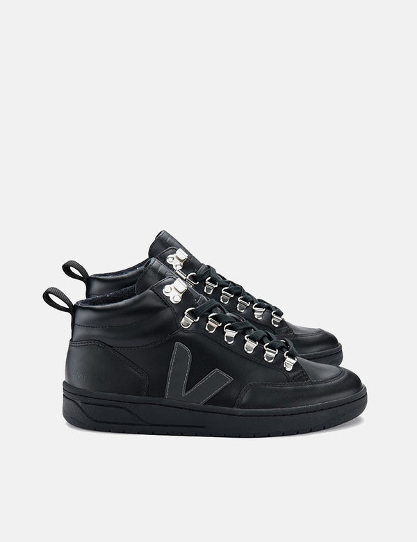 Baskets En Cuir Veja Roraima Femme - Grafite Black-Sole