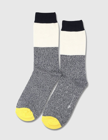 Democratique Relax Block Socks - Navy/White/Yellow