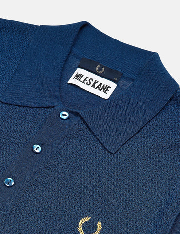 Fred Perry x Miles Kane Texture Panel Knitted Shirt - Deep Marine