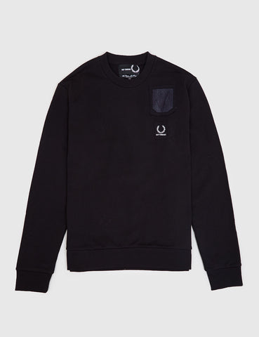 Fred Perry x Raf Simons Denim Pocket Sweatshirt - Black
