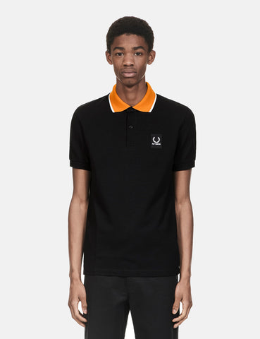 Fred Perry x Raf Simons Contrast Collar Pique Shirt - Black