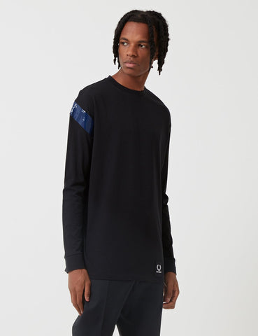 Fred Perry x Raf Simons Tape Detail Long Sleeve T-Shirt - Black