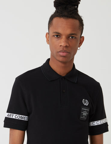 Fred Perry Art Comes First Taped Pique Shirt - Black