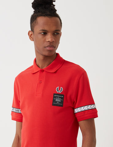 Fred Perry Art Comes First Taped Pique Shirt - Fire Red