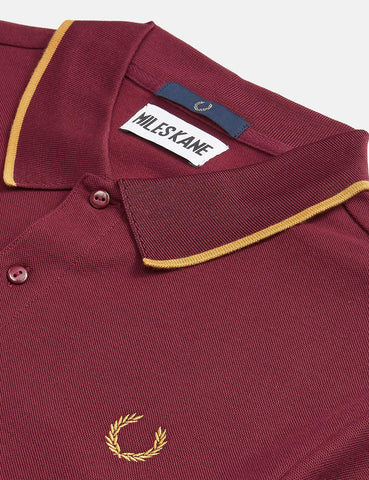 Fred Perry x Miles Kane Fine Tipped Pique Shirt - Aubergine
