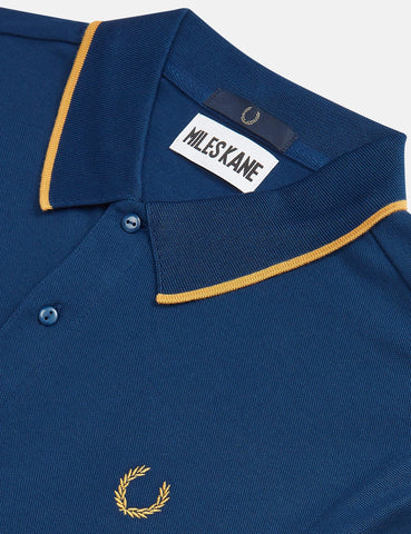 Fred Perry x Miles Kane Fine Tipped Pique Shirt - Deep Marine Blue
