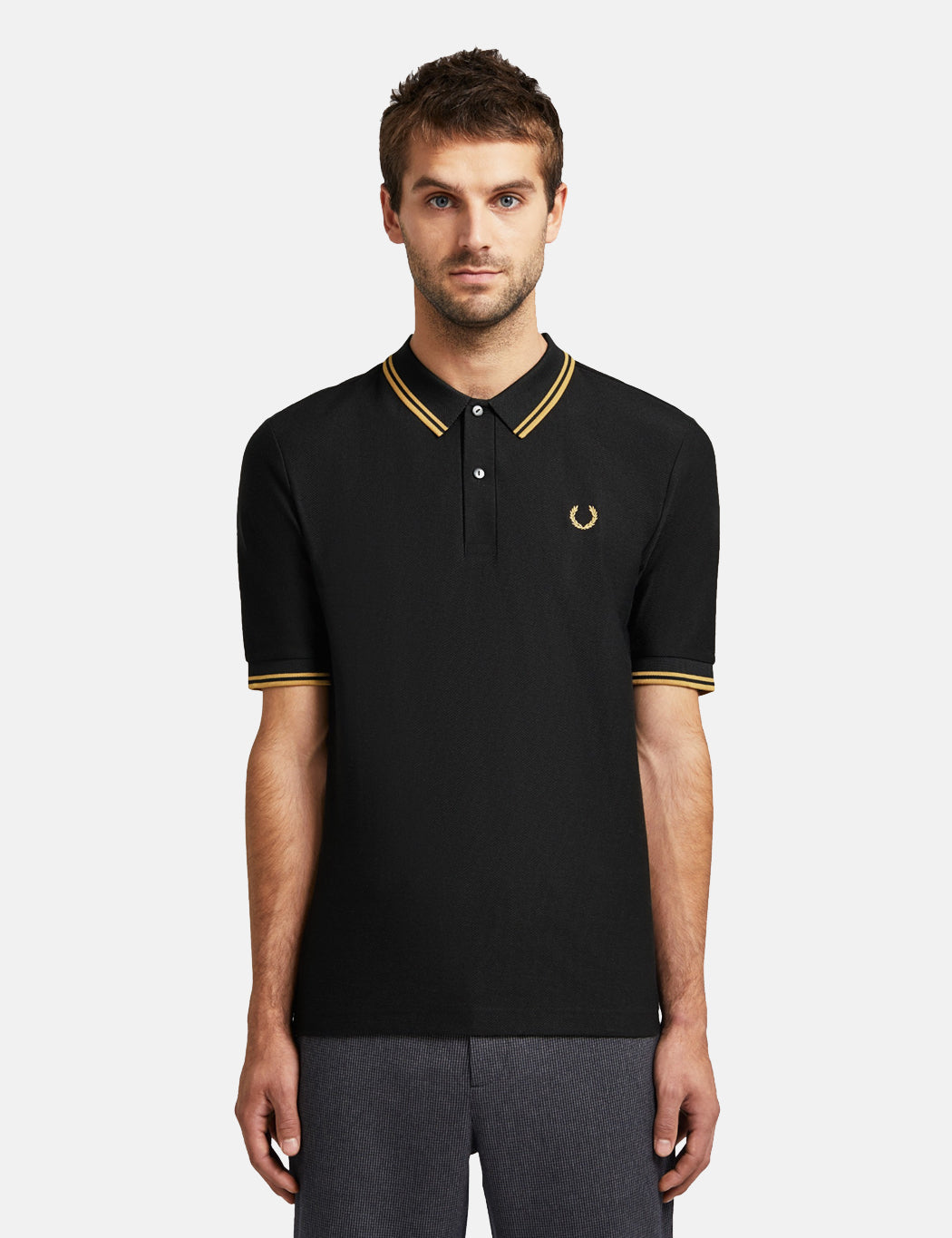 Fred Perry x Miles Kane Textured Pique Shirt - Black | URBAN EXCESS