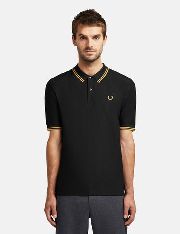 Fred Perry x Miles Kane Textured Pique Shirt - Black