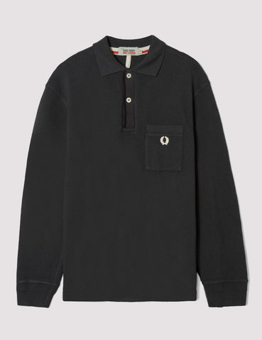 Fred Perry x Nigel Cabourn Long Sleeve Training Pique Shirt - Washed Black
