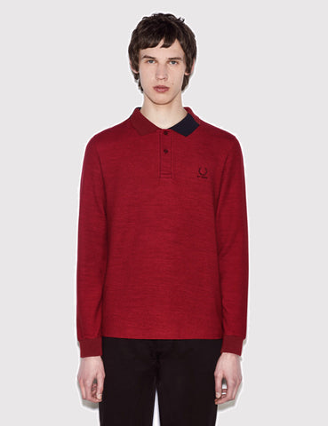 Fred Perry x Raf Simons Long Sleeve Abstract Collar Pique Shirt - Rosso