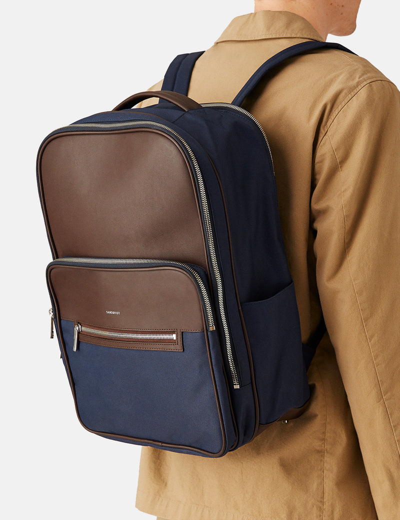 Sandqvist Folke Backpack (Leather/Polyester) - Navy Blue/Brown