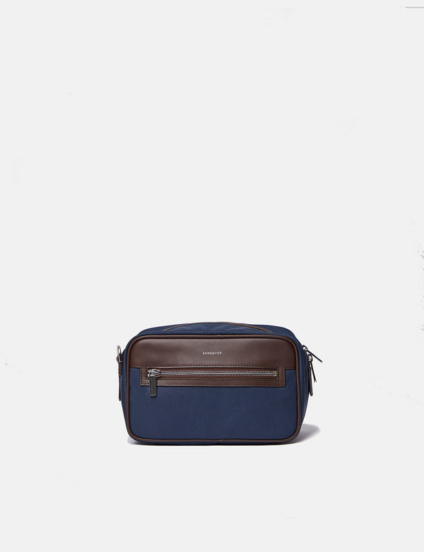 Sandqvist Jonas Wash Bag - Navy Blue/Brown