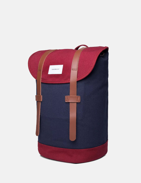 Sandqvist Stig Backpack (Canvas) - Blue/Burgundy